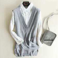 Womens Knit Cotton Sweater Vest V-neck Warm Pullover Kniwear Outwear Waistcoat L