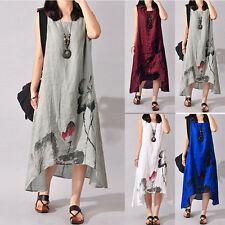 Plus Women Sleeveless Loose Cotton Linen Summer Sundress A-line Tank Dress Best