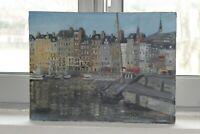 """Huile sur toile """"Port de Honfleur"""" peint et signé par J.Marcassin"""