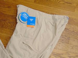 Columbia Womens New PFG Aruba Roll Up Flat Front Nylon Beige Pants Size 12 Reg