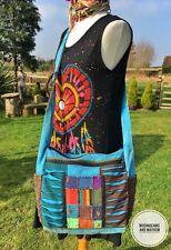 FAB Nuevo TURQUESA PATCHWORK Slouchy Bolso de Hombro Cartera de mano Hippie o Gitano Boho