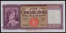 """ITALY 500 LIRE 1961 """" ITALIA ORNATA DI SPIGHE"""" SUP. BEAUTIFUL & RARE BANKNOTE"""