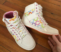 NEW Women's COACH Size 7.5 Tennis Casual Hi Tops Norra Colorful White Leather