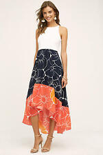 NEW $168 Anthropologie HUTCH Peachy High-Low Dress L Floral flow Coral Navy