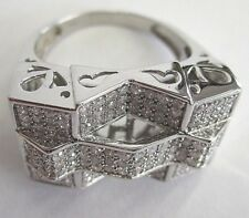 NEW 14K WHITE GOLD DIAMOND MEN'S RING SIZE 12 WITH ABOUT 1.50ct DIAMONDS