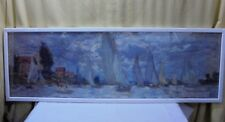 Framed Under Glass Claude Monet Les Barques Sailboat Print on Wood Backing 37x12