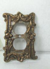 Vintage Art Deco Brass Rose Gold Gilt Fancy Ornate Duplex Outlet Cover