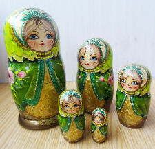 Russian nesting doll matryoshka babushka Green Shawl Handpainted Handmade - 94d