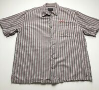 Vintage Fubu Collection Men's XXL Gray Red Stripe Button Down Shirt Short Sleeve