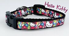 """Hello kitty cat or small dog collar 1/2"""" wide adjustable handmade bell"""