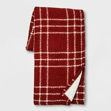 Threshold Plaid Boucle Reverse to Sherpa Throw Blanket Red/White 50 X 60