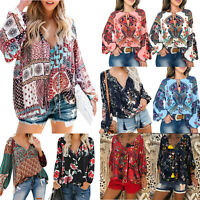 Women Boho V Neck Gypsy Floral Long Sleeve Tops Baggy Blouse Holiday Beach Shirt
