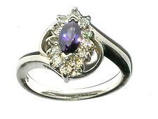Amethyst Zirkonia Ring massiv Silber Sterling 925 Ø 19mm
