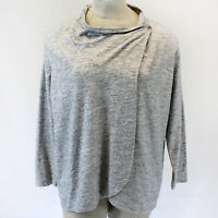 NEW J. Jill Plus Size Melange Gray Cotton Blend Cardigan Sweater Top pockets 1X