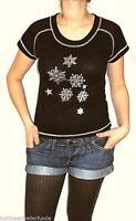 klasse ripp strick shirt halbarm mit mattsilbernen eiskristallen L unikat
