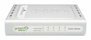 D-Link 5 Port 10/100/1000 Green Gigabit Switch DGS-1005D with A/C Adapter