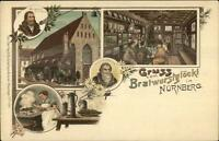 Gruss vom Bratwurstglockl in Nurnberg Germany  c1900 Postcard