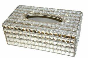 Bling Full Silver Rectangle Diamante Crystal Tissue Paper Case Box Holder Xmas