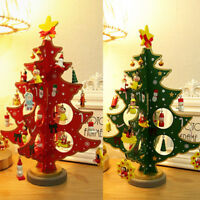 3D WOODEN CHRISTMAS TREE CHRISTMAS TABLE DECORATION XMAS HANGING ORNAMENTS UK