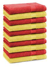 Lot de 10 serviettes débarbouillettes Premium couleur: jaune & rouge
