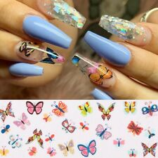 Lots 10Pcs Butterfly Colorful Nail Foils Flower Nail Art Transfer Stickers Decor