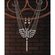 Beautiful Womens Crystal Layered Tassel Necklace & Dangle Earrings Jewelry Set