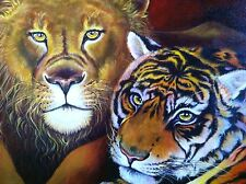 """Original painting lion and tiger wildlife cat cats by Galina Red 18""""x24"""""""
