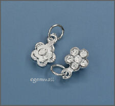 2 Sterling Silver Flower / Rose Charms 7.5mm #51532