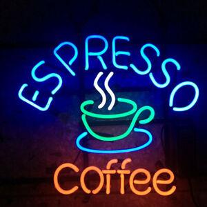 "Espresso Coffee Cafe Open Neon Lamp Sign 17""x14"" Bar Light Glass Artwork"