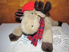 Large Chosun Floppy Moose W/ Red Cap n' Scarf 16in Tall Cuddly Bedtime Companion