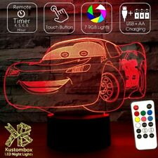 LIGHTING MCQUEEN CARS DISNEY 3D LED BATTERY USB NIGHT LIGHT +  REMOTE 7 COLOUR