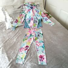 New Next Girls Tracksuit Set Multi Floral Leggings & Hoodie Age 7 Years