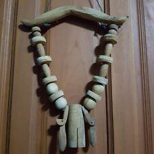 Wooden Cow Bell Vintage Thai Primitive Rustic Home Decorative Collectibles