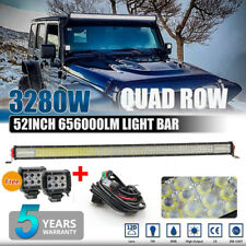 3280W 12D 52INCH LED Work Light Bar Driving Flood Spot Driving off-road +2X PODS