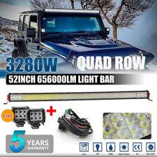 3280W 12D 52INCH LED Work Light Bar Driving Flood Spot Driving off-road +2X PODS