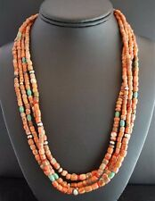 by San Felipe Indian Kathleen Sanchez Natural Coral & Turquoise Beads Necklace