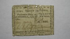 1761 Thirty Shillings North Carolina NC Colonial Currency Note Bill 30s April 23