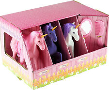 Set Of 3 Large Flocked Magic Unicorn Play Figures in Stable Play Set Toy