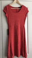 Outback Red The Limited XS Salmon Red Striped Short Sleeve A-Line Dress NEW $69