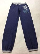 Victoria's Secret Pink S Blue Elastic Cuff Sweatpants Silver Zebra Leopard Heart