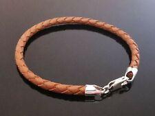 """4mm Braun Geflochtenes Leder & Sterling Silber Armband Bracelet 7.5"""" 8"""" 8.5"""" 9"""""""