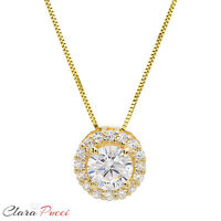 "1.35ct Round Cut PAVE 14K Yellow Gold Solitaire Pendant Necklace BOX + 16"" Chain"