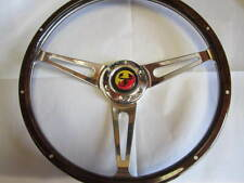 FIAT 124 SPIDER WOOD STEERING WHEEL, 380MM 1979-1985,ABARTH HORN BUTTON, DARK