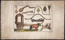 1810 Gravure originale indiens instruments de musique voiture éventails Inde