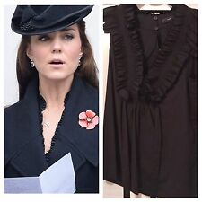 NWOT BCBG Max Azria Black Tuxedo Ruffle Trim Shirt Version of Dress ASO DOC Sz M