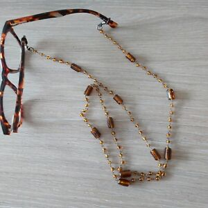 Fancy brown bead chain for Glasses