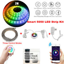 Smart 5050 RGB LED Strip Light Touch Wifi APP Control For Echo Alexa Google Home