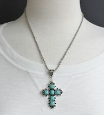 "Turquoise Cream cross necklace cross pendant silver chain 18-21"" long necklace"