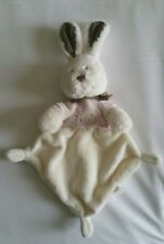 Doudou nicotoy lapin blanc rose marron papillon 3 noeuds