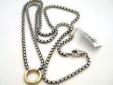 "David Yurman Sterling Silver/18k Gold 20"" Round Charm Box Chain Necklace NWT"